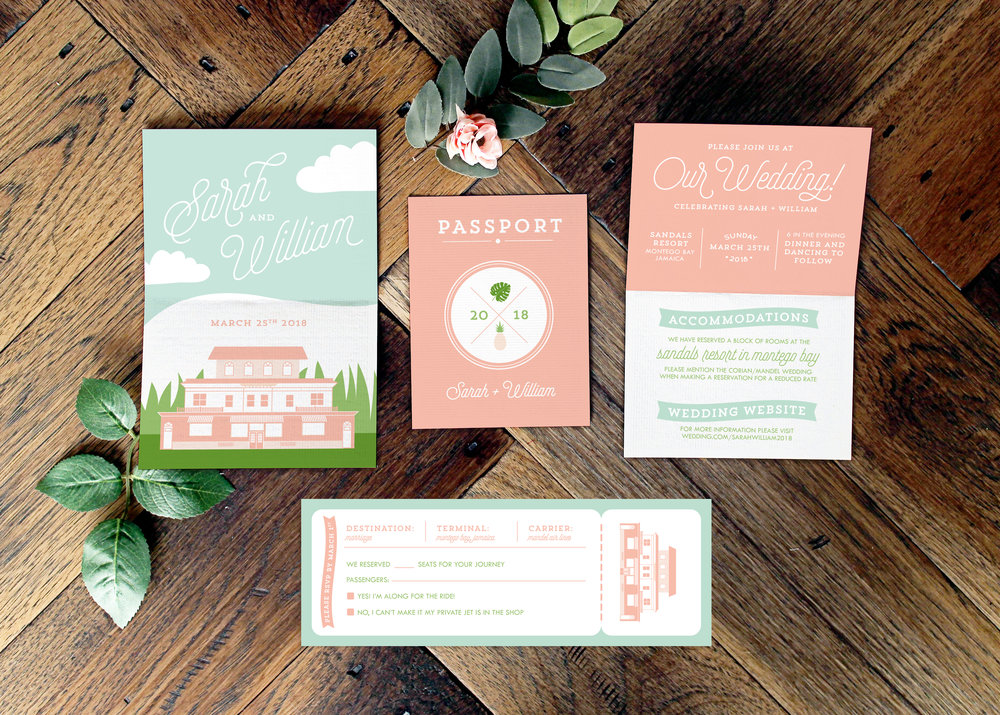 Tropical Passport Wedding Invitation Suite