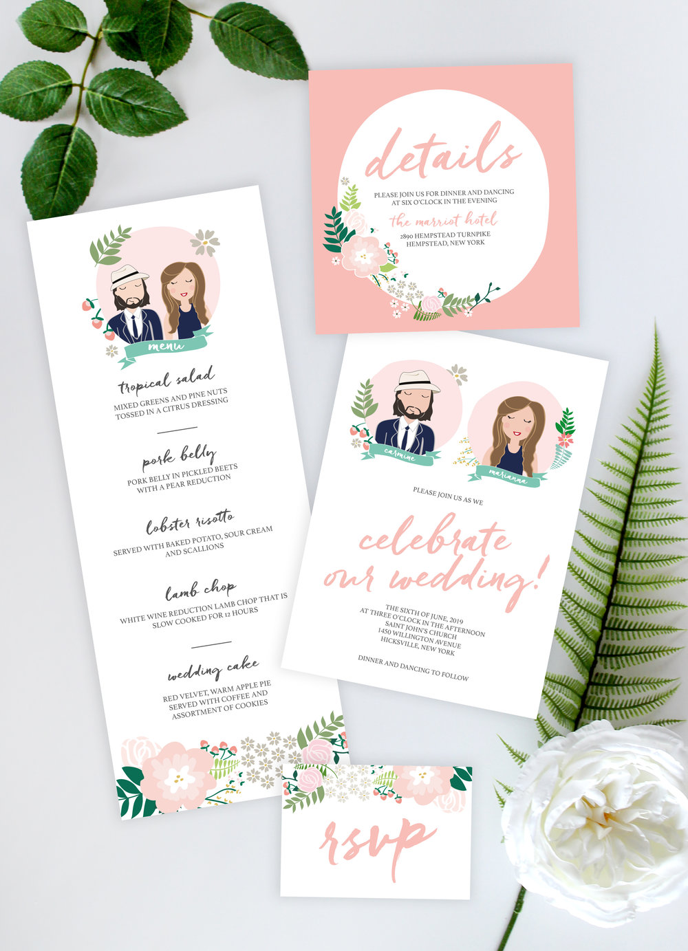 custom portraits wedding invitations by yellow heart art