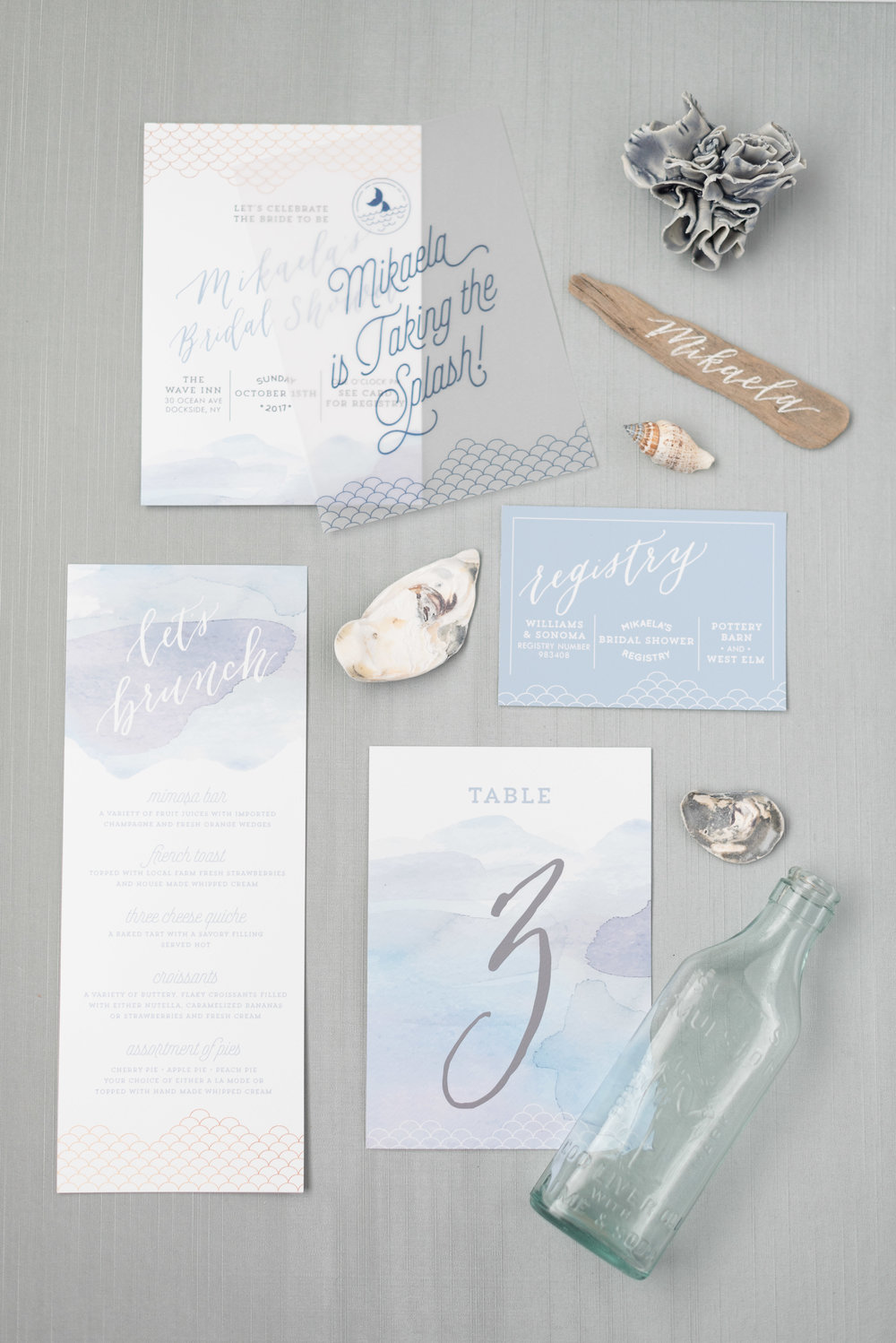 mermaid watercolor bridal shower brunch invitation in dusty blue