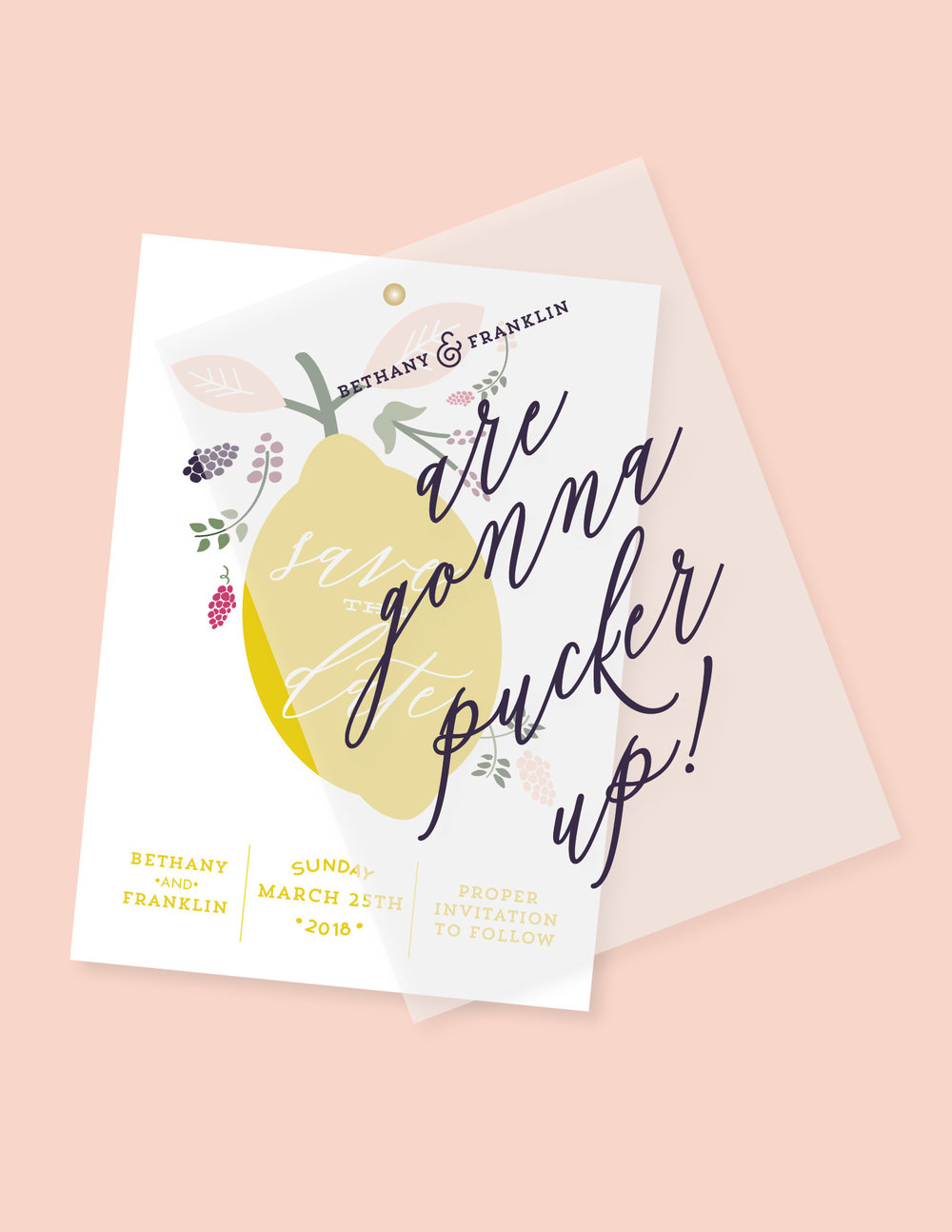 save the date lemon citrus by yellow heart art