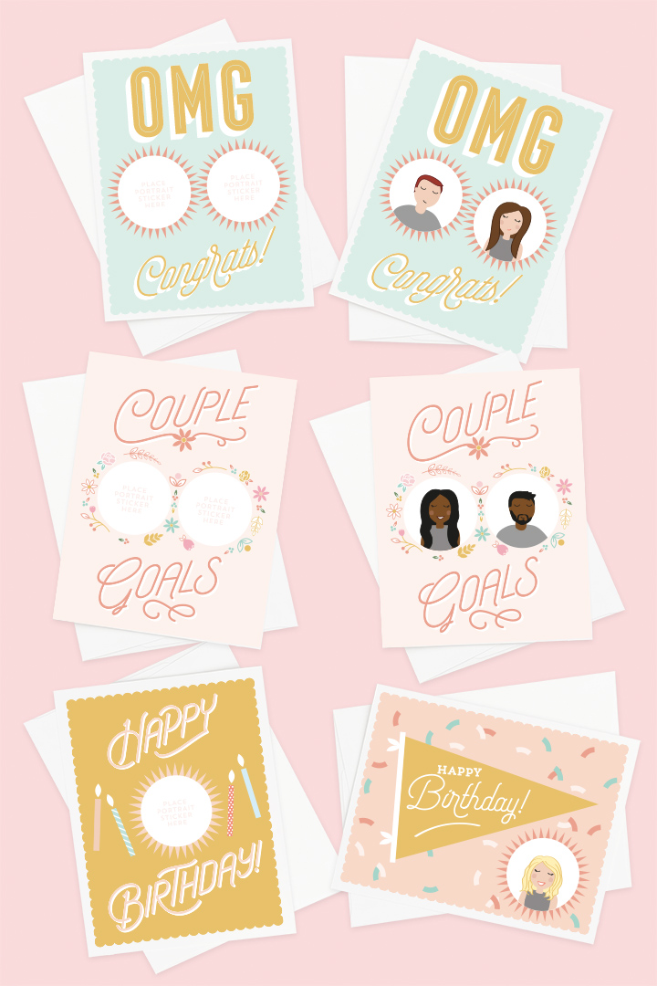 Portrait Greeting Cards Box Set Of 4 And 42 Stickers