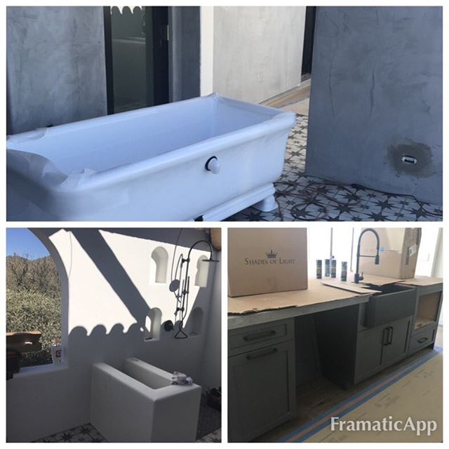 Modern Hacienda progresses with the arrival Of the tub for the outdoor bathing court!#rethinkinteriorsandlifestyles