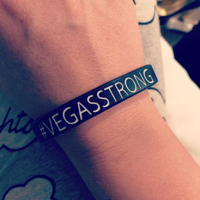 """Yesterday I spent the day in Las Vegas. With survivors & families that are still at Sunrise Hospital that let me come visit & sing for them, the *incredible* ER staff let me serenade them too and they talked through stories from that night and how they are coping now (""""be careful who you hug"""" 😭), I got to see my friends at the Las Vegas radio stations and hear their experiences at the festival too, more hugs, and then gathered to play music and raise donations at A Night of Healing. Not gonna lie it was hard on my heart to hear what everyone went through, but the surprising part was the overwhelming amount of stories that restored my faith in humanity. Who would've guessed that kindness was so automatic?? That heroism came naturally to SO many people that night?? The hidden miracles like all those belts that became tourniquets. 💛I know the healing will take a while, and I'm sorry to remind you of the painful parts through a post like this (I'm honestly dreading all the award show recaps)- but all these good people will have ups and downs as they recover and wrap their heads around it all, and they will need our support and love for a long time. Listen to them, give hugs, spread kindness, and sing whenever you can 💛 #vegasstrong"""