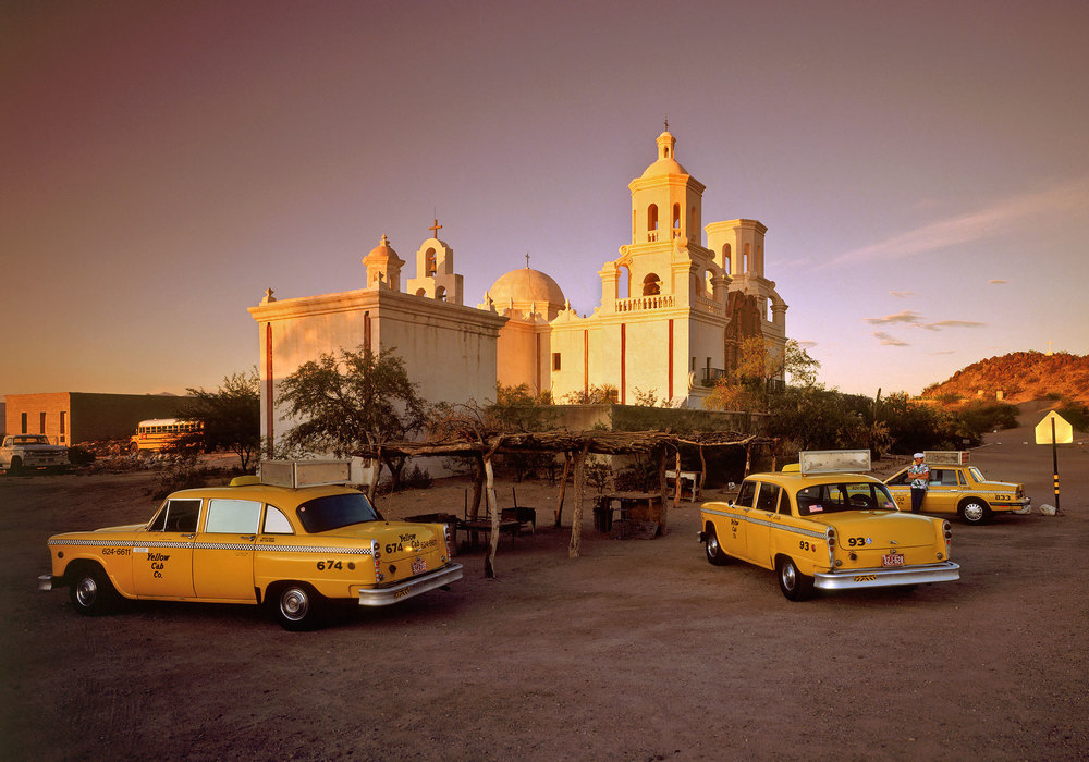 Checker Marathon Taxis at San Xavier Mission