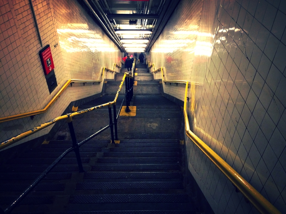of course the escalator was broken and had to walk down this LOVELY flight of stairs today too. >.<