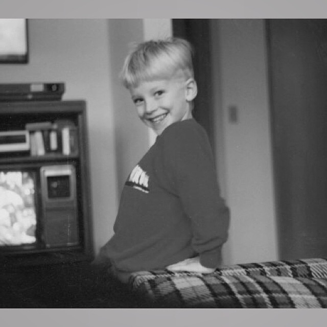 A #TBT #Blackandwhiteseries #3   A favorite oldie of mine that I'm not even really sure how old it is, but I know I was at least 7 because that's when we moved into this house. I love the old TV and cable box in the background. Remember when TV's had channel dials on the face? hehe Also, that plaid couch is just lovely. :P