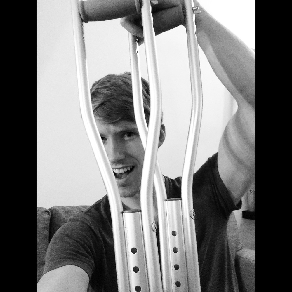 Gettin' Ready For the Oscars - posin' with my crutches like I do.  #BlackandWhiteSeries #6
