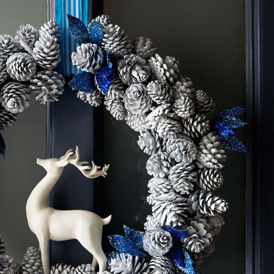 Modern blue and white holiday wreath