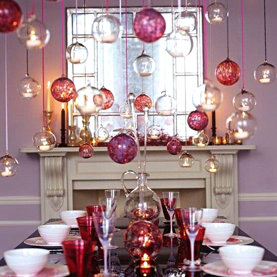 Floating glass ornaments make beautiful dining table centerpiece