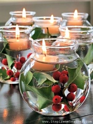 Fill a bowl with water, add holly and a votive. Don't stir. Inspire Me Heather