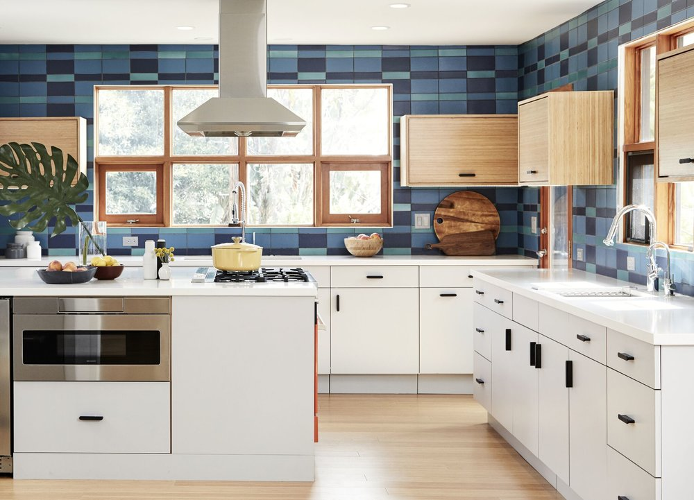 Just say yes to a plaid backsplash! - Photo Credit: Jenna Peffley