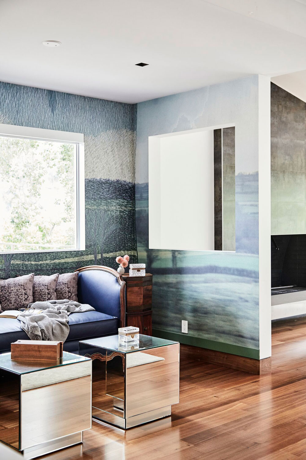 This mixed-media mural added important visual depth to this reading nook.