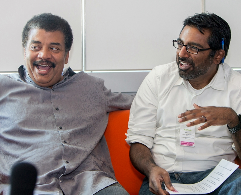 Astrophysicist and pop-culture  figure Neil deGrasse Tyson with science festival organizer Kishore Hari at the Evolving Culture of Science Engagement workshop in September, 2013. Photo: Lisa Abitbol