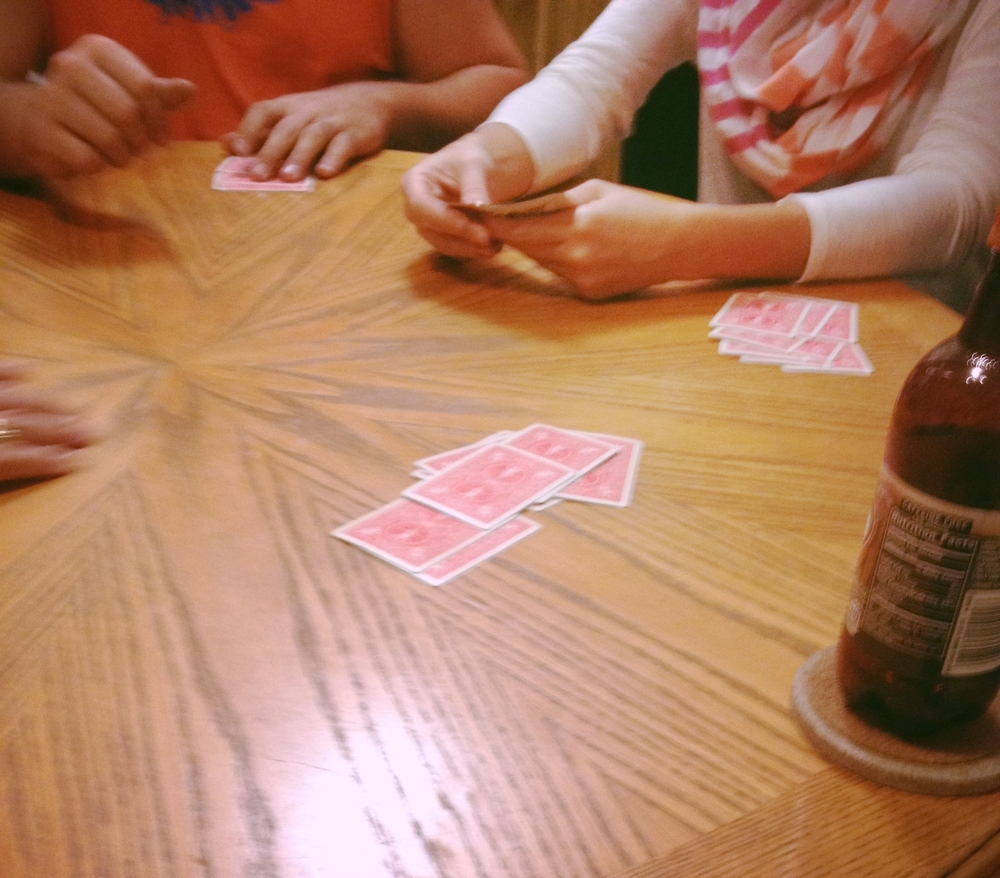 this is my favorite part about visiting my family, lots of card playing