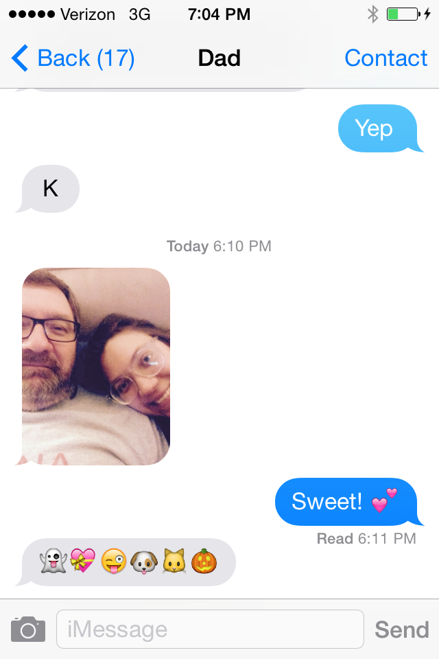 my mom reminded me i had posted photos of everyone but my dad, and i said i didn't have a photo, so my dad sent me this selfie he took with me.  cute.
