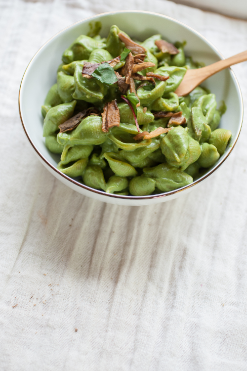 Produce On Parade - Creamy Chard Pasta with Porcinis and Peas
