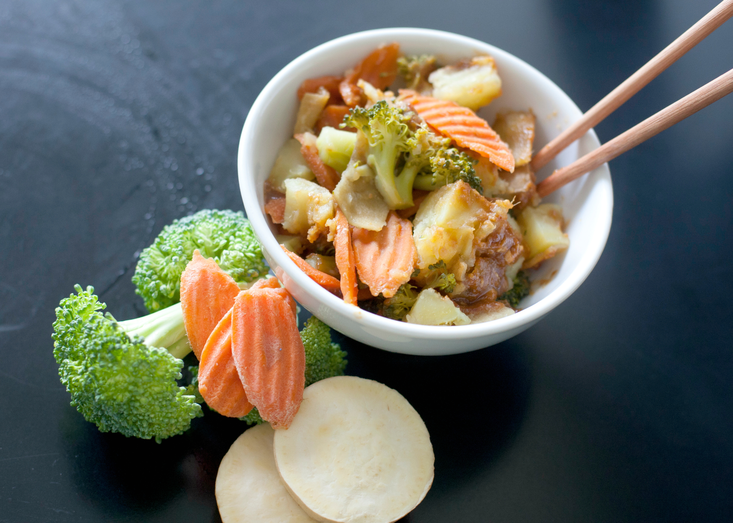 Produce On Parade - Steamed Veggies with Thai Miso Sauce