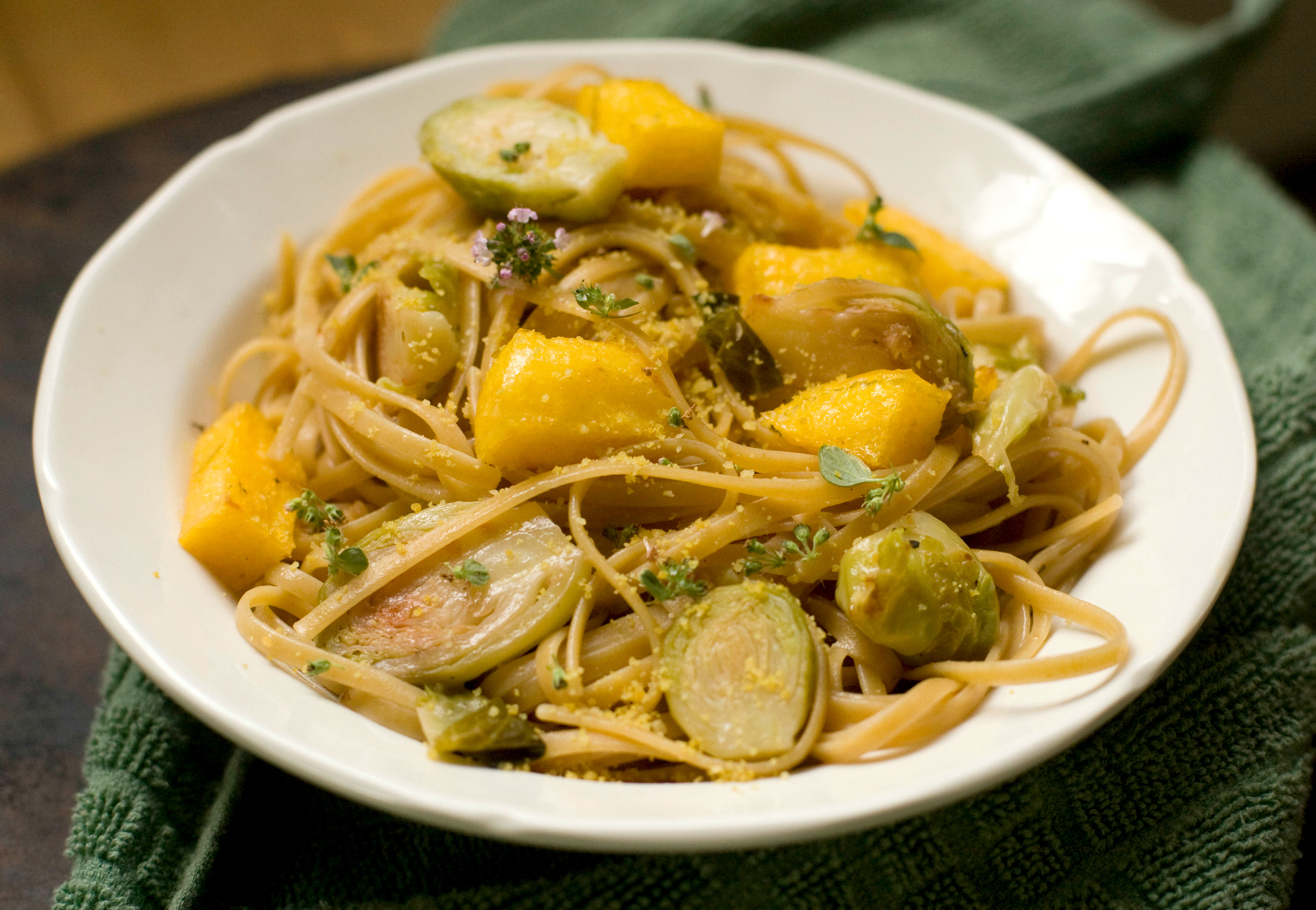 Produce On Parade - Lemony Garlic Pasta with Brussel Sprouts & Crispy Polenta