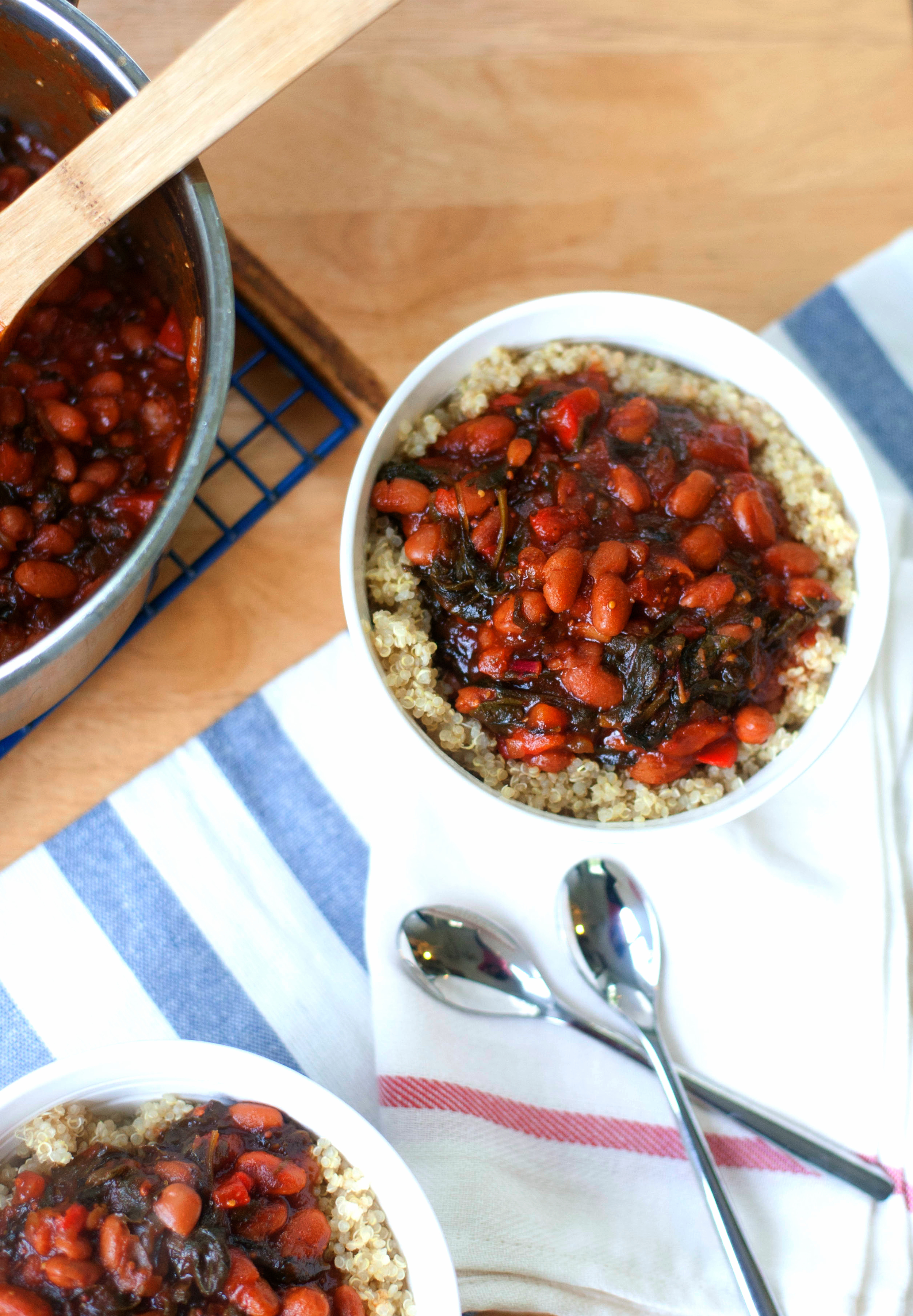 Produce On Parade - Baked Beans with Rainbow Chard and Quinoa