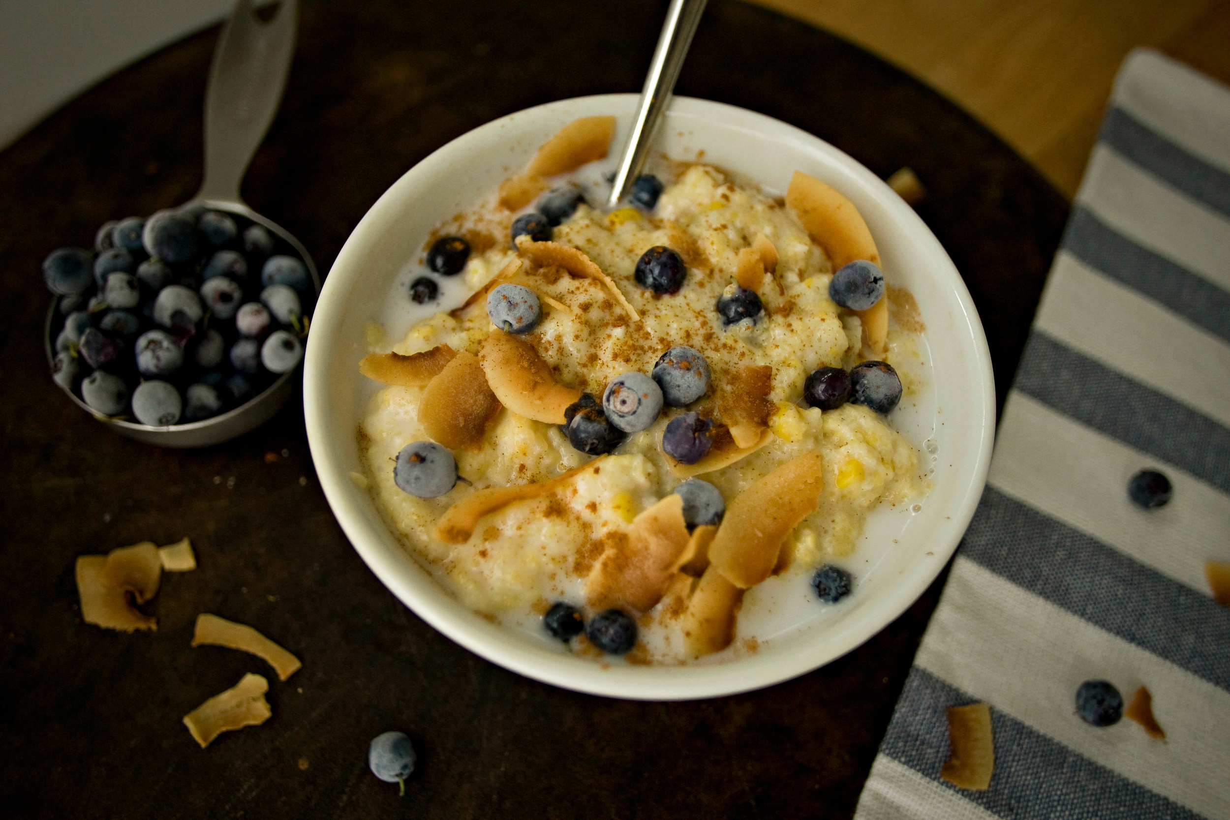Produce On Parade - Blueberry Breakfast Polenta with Toasted Coconut