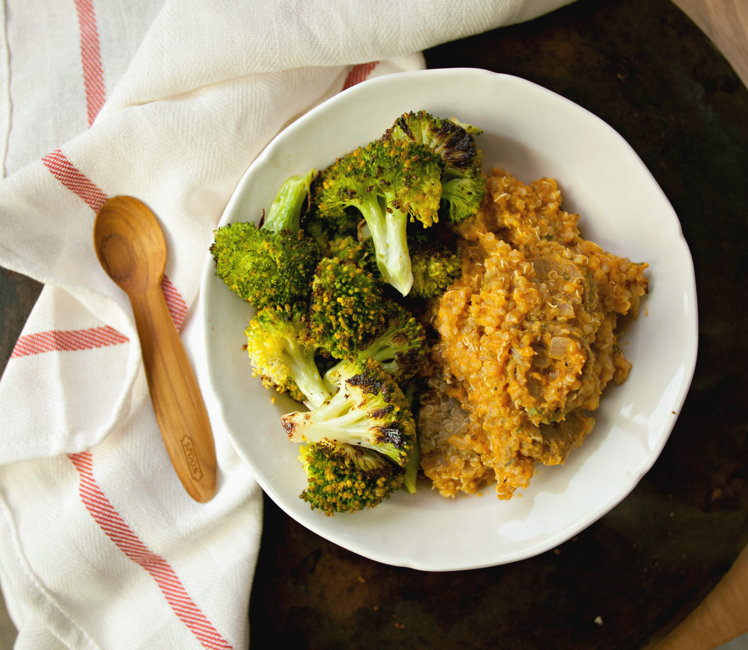 Creamy Pumpkin Sage Quinoa with Roasted Broccoli