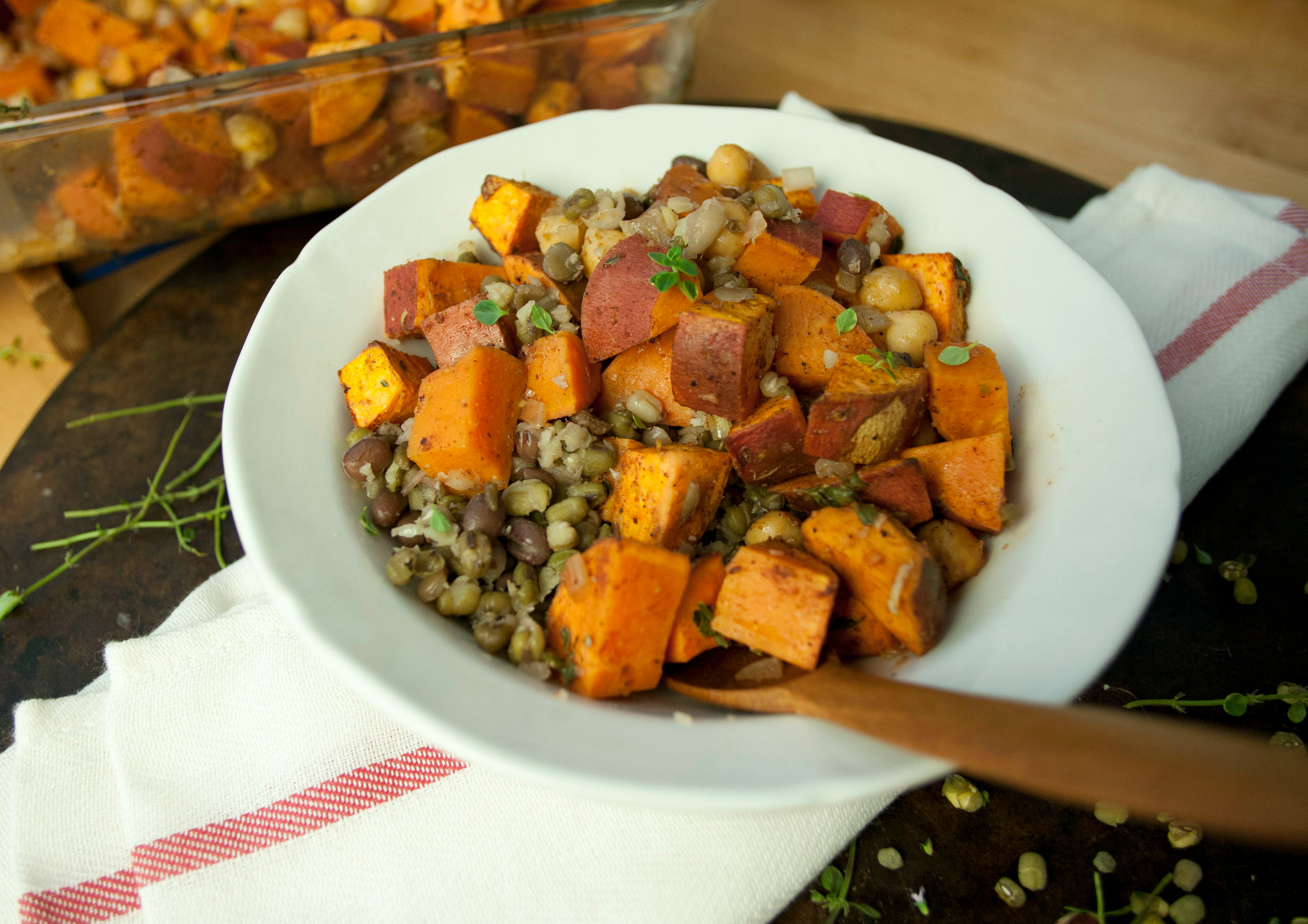 Produce On Parade - Roasted Fall Sweet Potatoes and Chickpeas with Sprouted Beans