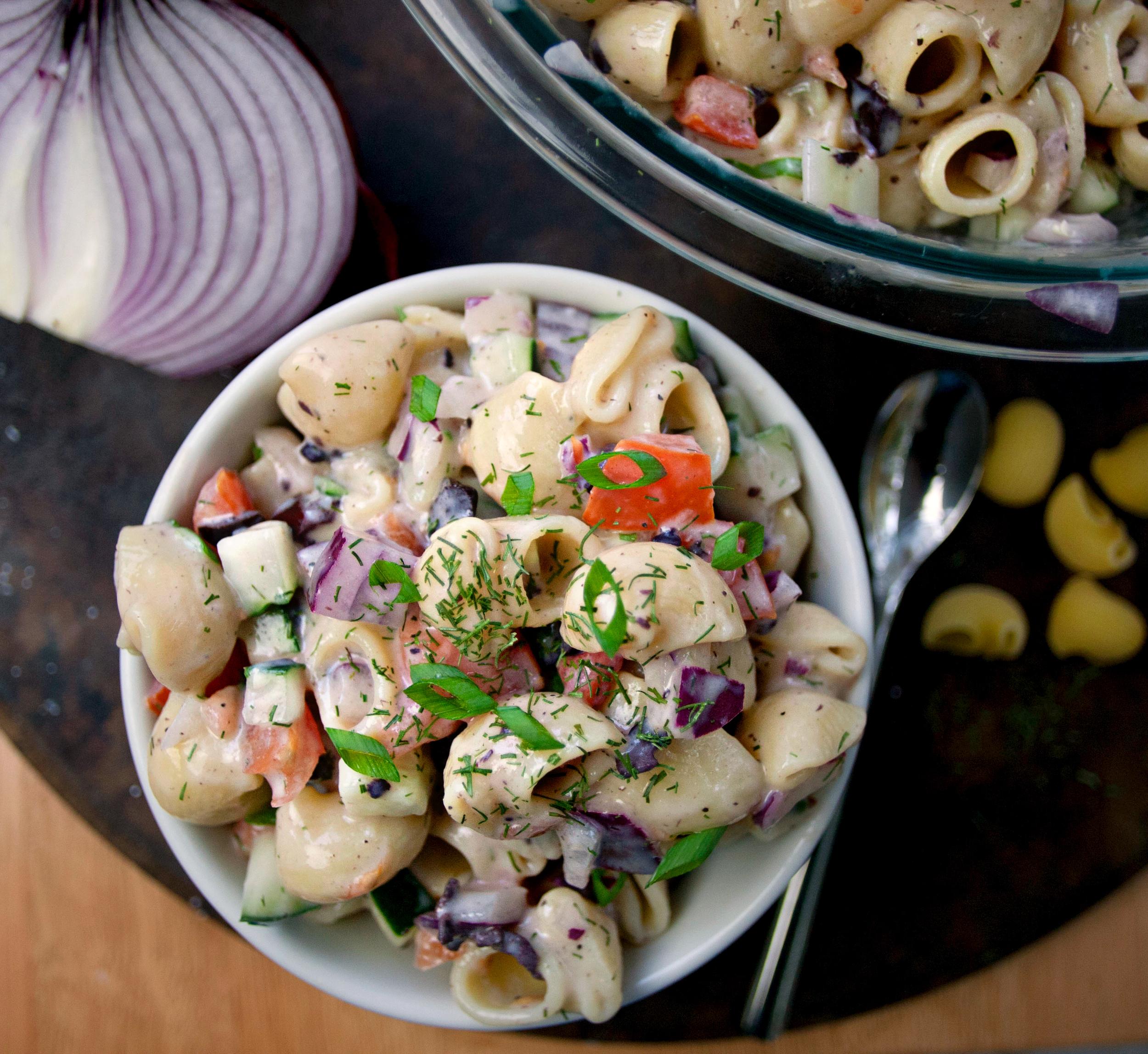 Produce On Parade - Vegan Greek Pasta Salad