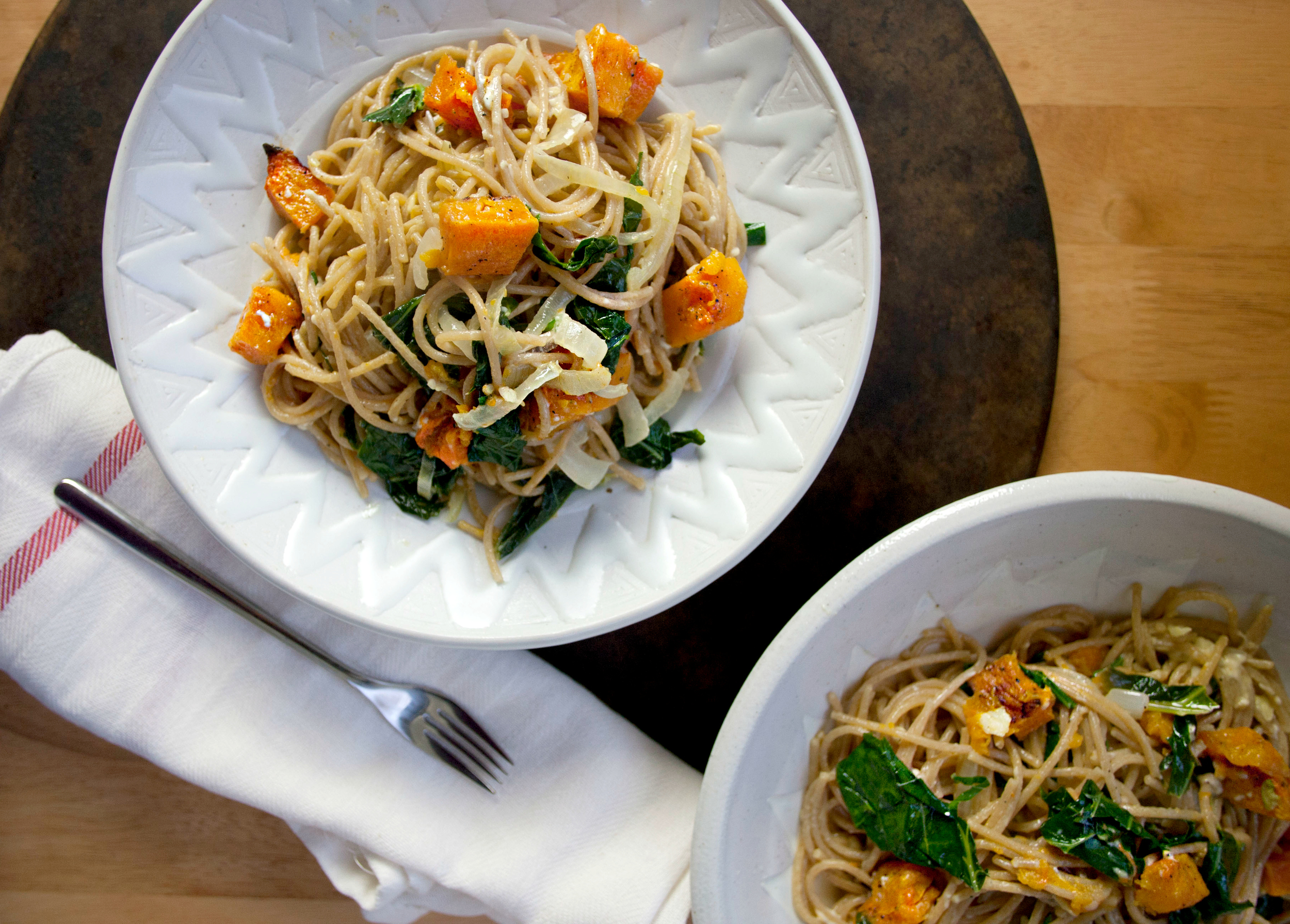 Produce On Parade - Creamy Pasta with Roasted Butternut Squash and Kale