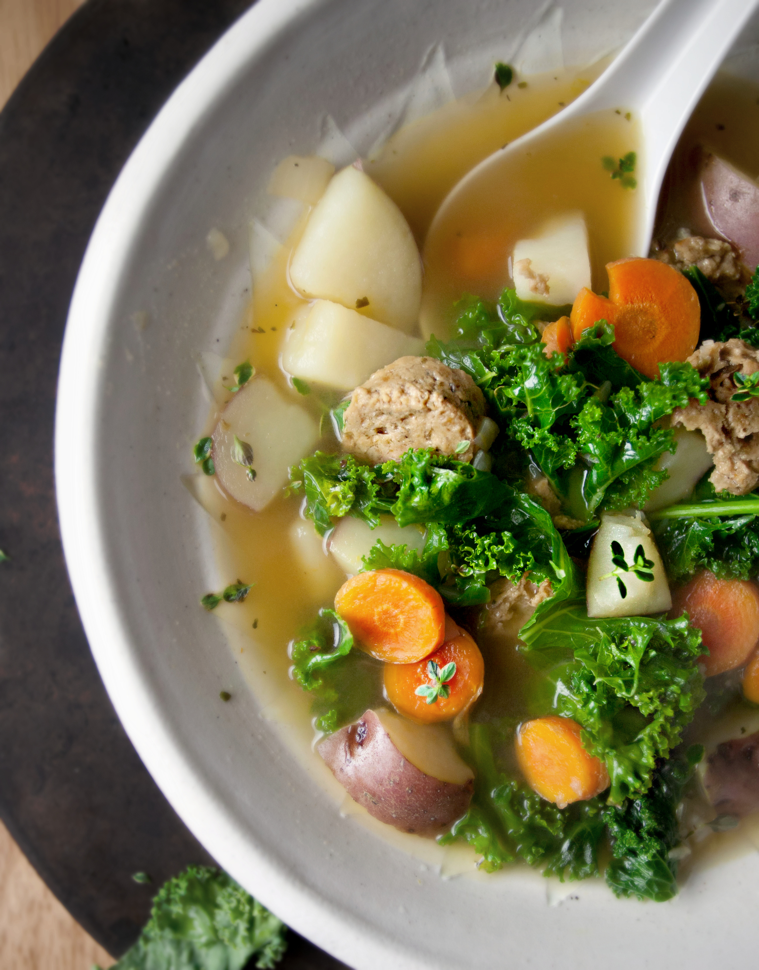 Produce On Parade - Kale and Red Potato Soup with Grain Sausage