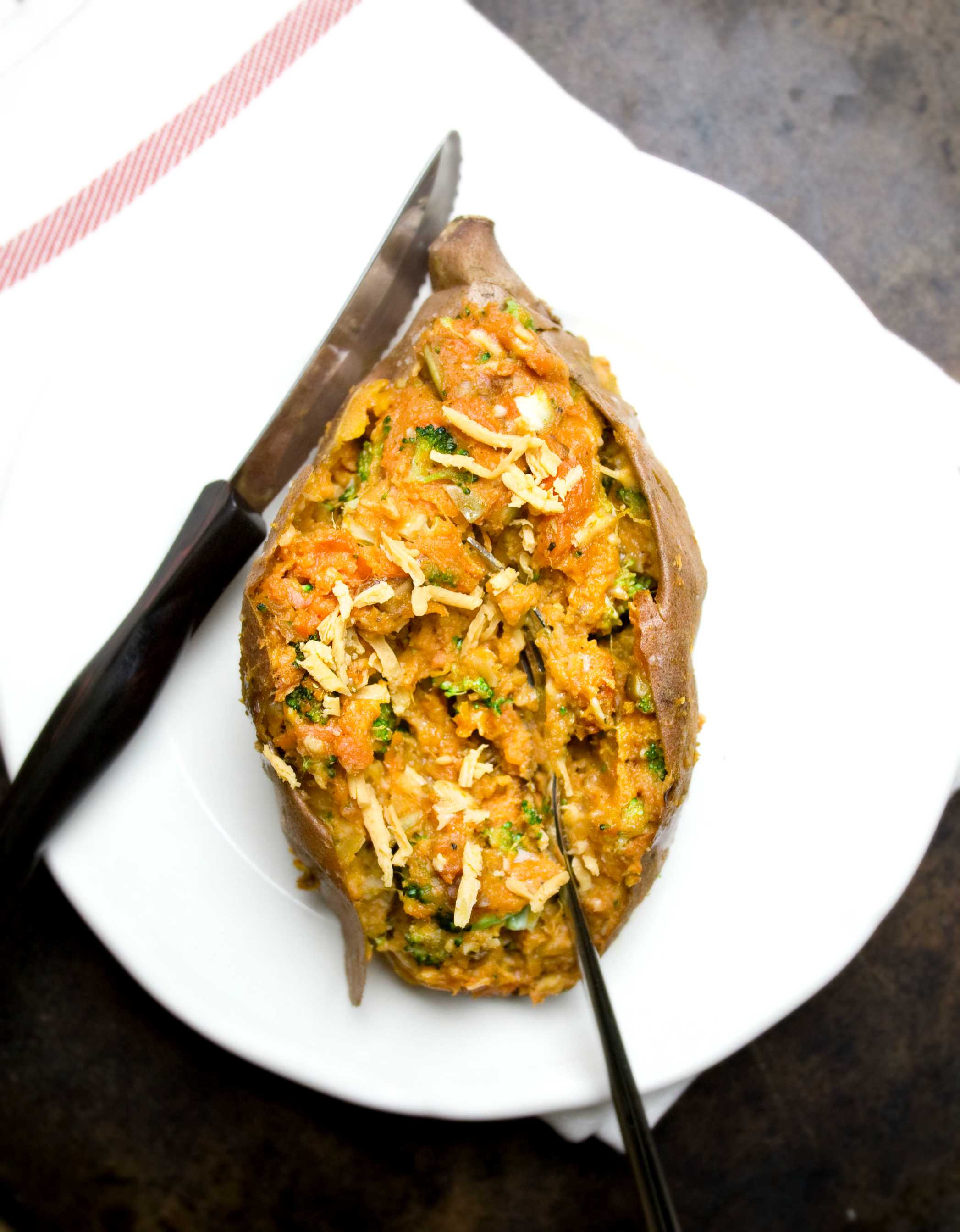 Produce On Parade - Twice Baked Walnut and Broccoli Sweet Potatoes