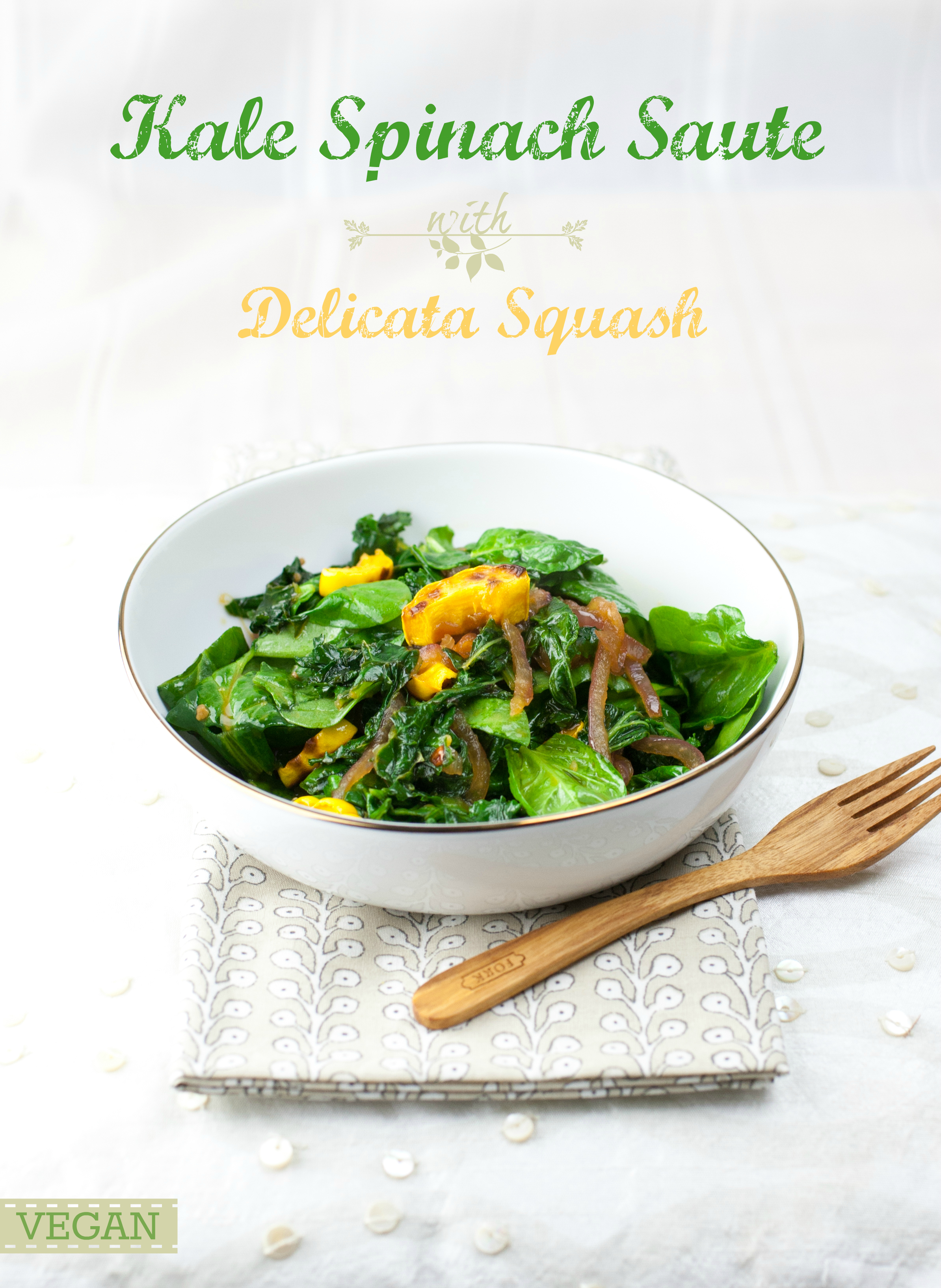 Produce On Parade - Kale and Spinach Saute with Delicata Squash