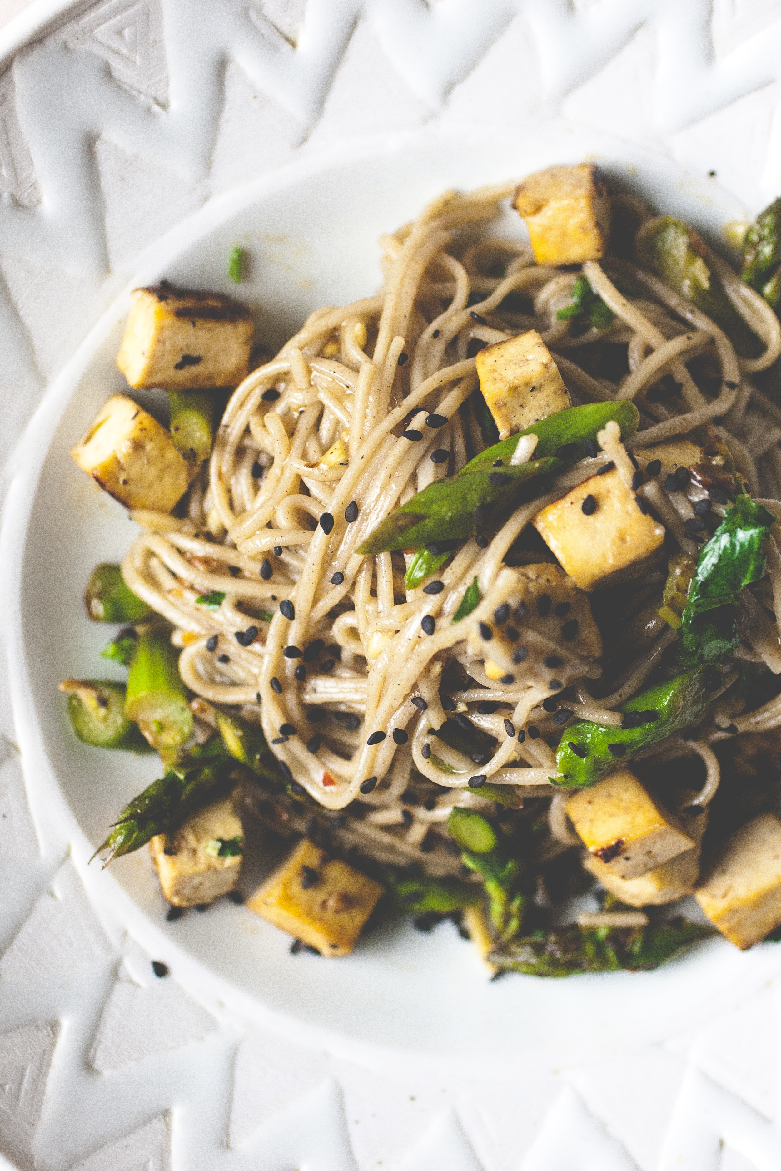 Produce On Parade - Sweet Ginger Soba Noodles + Crispy Tofu & Asparagus