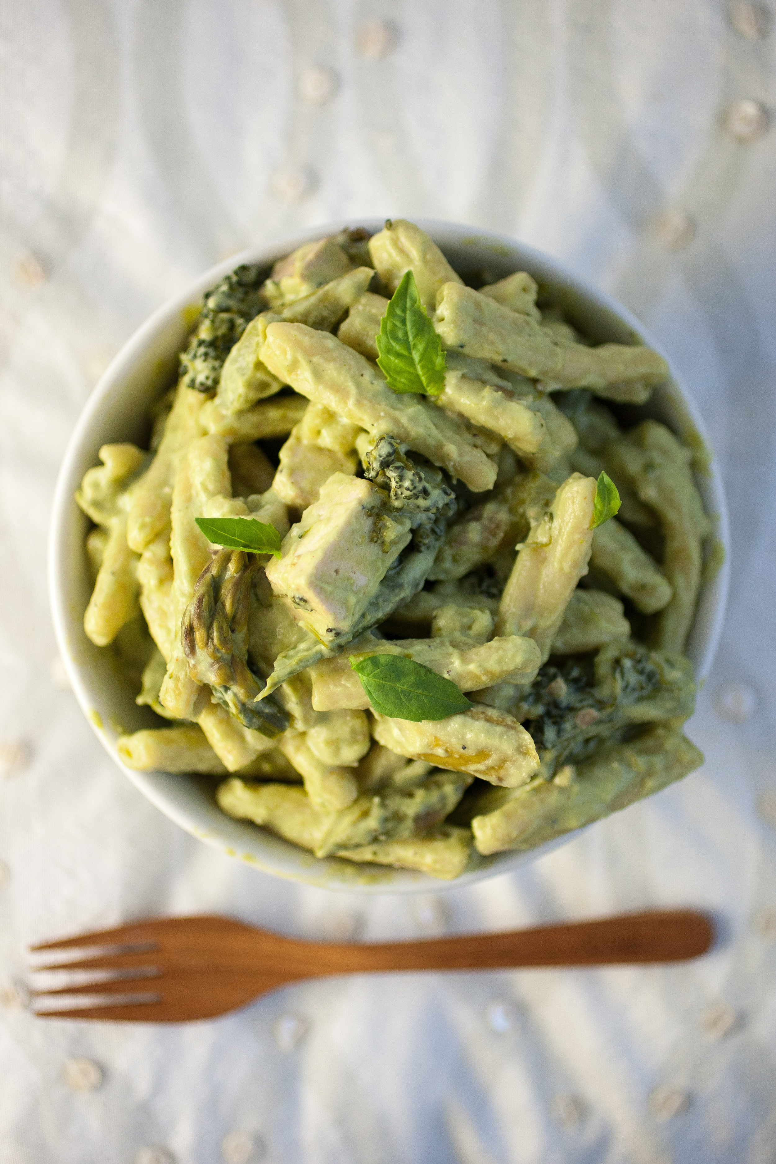 Produce On Parade - Basil Cream Pasta + Spring Vegetables & Tofu