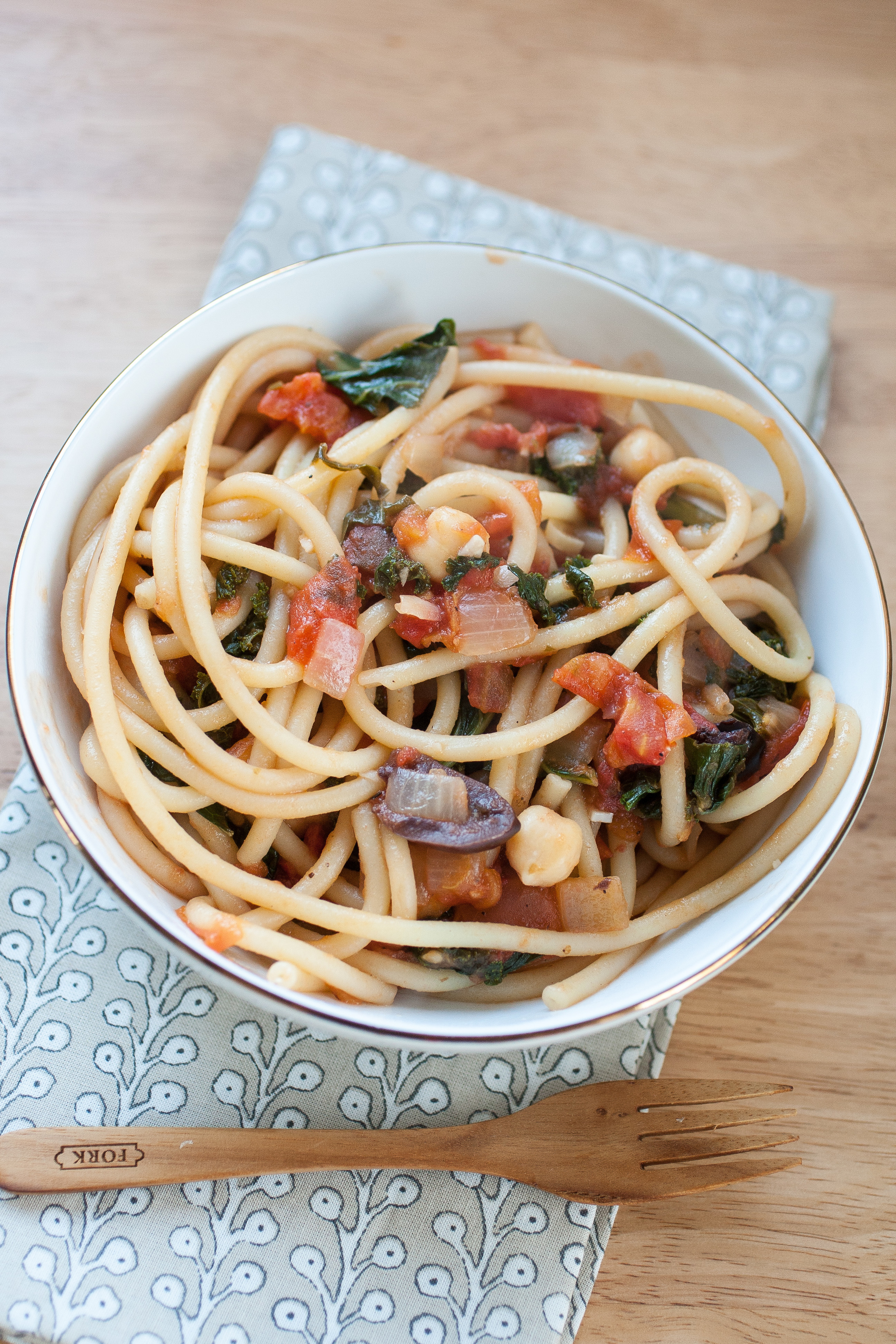 Produce On Parade - Kalamata Pasta with Chickpeas and Kale