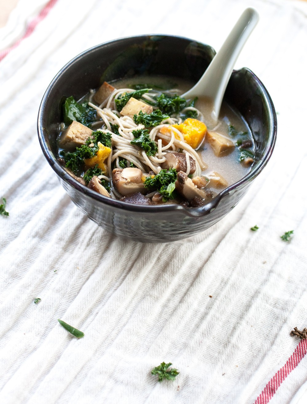 Produce On Parade - Miso Soba Noodle Soup with Shiitake, Tofu, & Butternut Squash