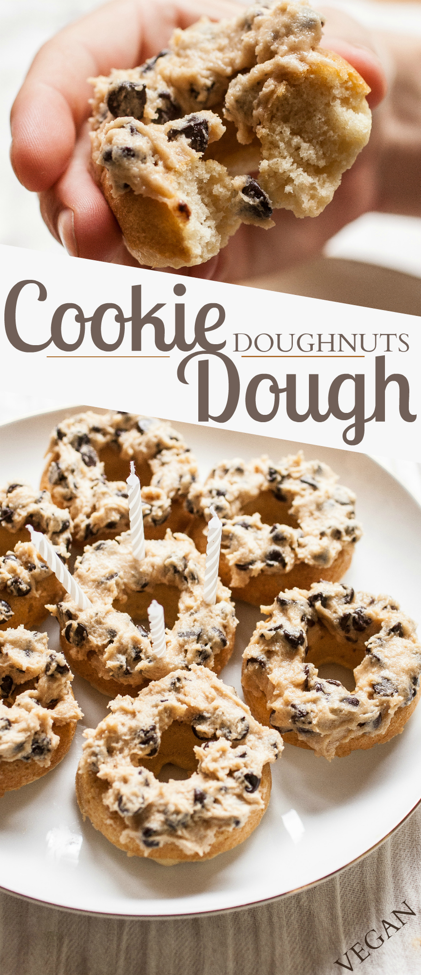 Produce On Parade - Cookie Dough Doughnuts - A fluffy, perfectly textured vanilla doughnut layered high with creamy and delicious cookie dough. Super decadent and sure to be a huge hit!