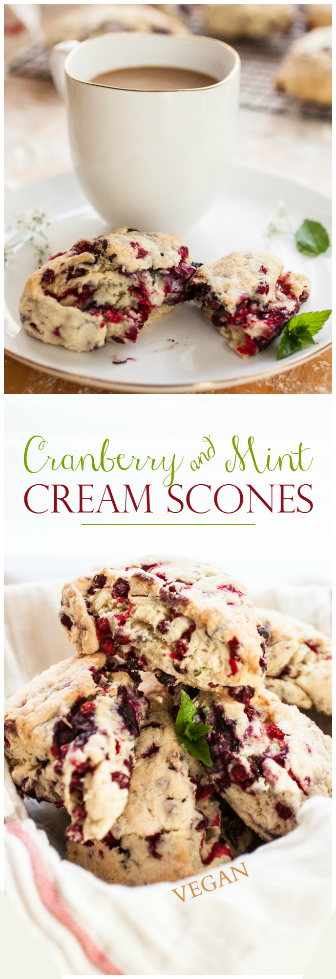 Produce On Parade - Cranberry & Mint Cream Scones - These flaky, mildly sweet, and deliciously creamy scones are filled with fresh mint and tart cranberries.