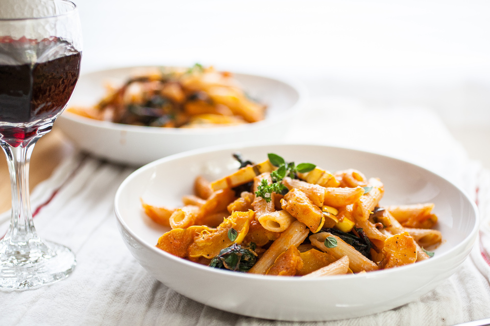 Produce On Parade - Delicata Squash & Chard Penne Pasta - A perfect early autumn penne pasta with roasted delicata squash, sautéed chard and bell pepper, dressed in a fresh, herbed tomato sauce.