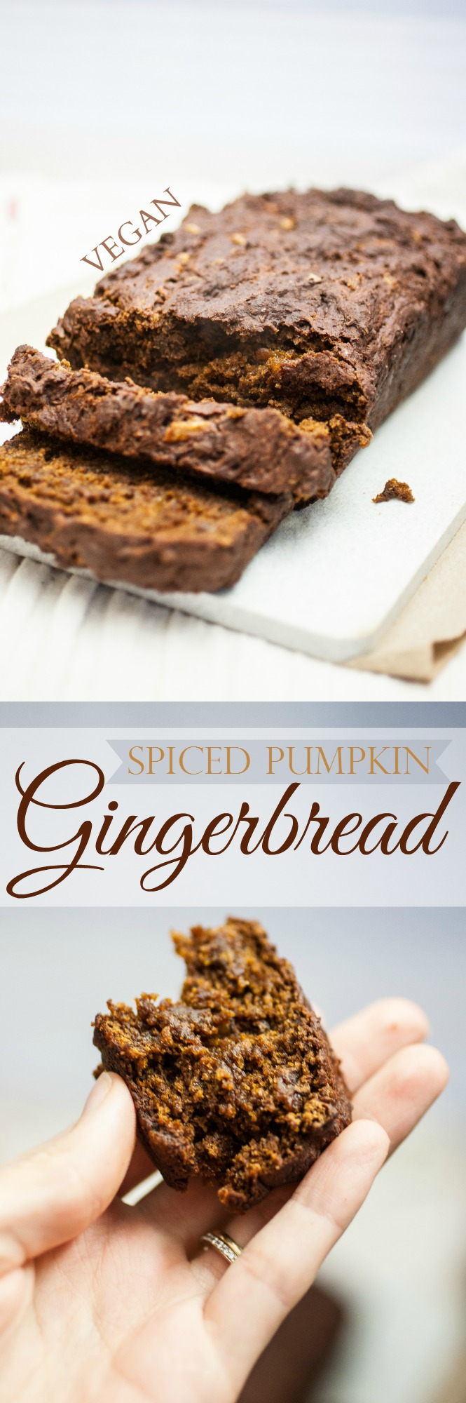 Spiced Pumpkin Gingerbread — Produce On Parade - This gooey dessert bread is the essence of #Thanksgiving and Christmas combined. Heavenly winter #gingerbread is scented with autumnal spices and moistened with #pumpkin. Bits of candied ginger throughout lend a spicy bite.