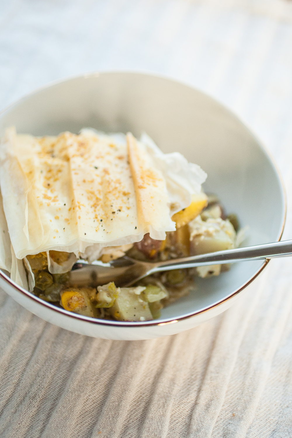 Produce On Parade - Tofu Pot Pie Casserole - A sturdy and healthy tofu pot pie casserole made with phyllo dough and common vegetables. Quick and easy for a weekday dinner!