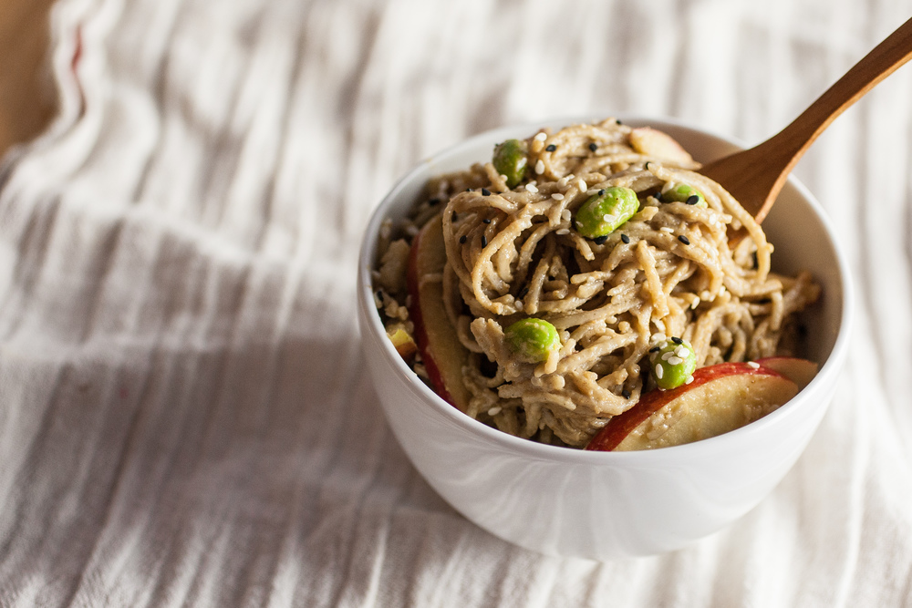 Produce On Parade - Maple Peanut Soba Salad with Edamame & Apples - A quick and simple peanut butter soba noodle salad studded with vibrant edamame and crisp apples. Sweetened with maple syrup, with an Asian flare.