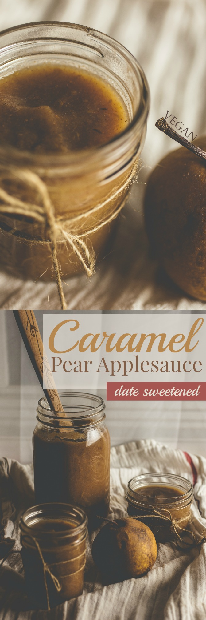 Produce On Parade - Caramel Pear Applesauce - Caramel dates sweeten this pear applesauce. It's foolproof, quick, and a great way to use up extra fruit. I can't believe I haven't been making this my entire life! Done in 10 minutes with a pressure cooker!