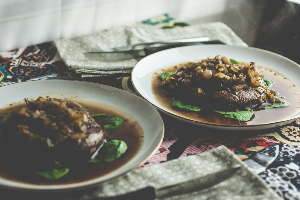 Produce On Parade - Portobello Mushroom Steaks - This juicy, Portobello steak will satisfy your cravings and fill you up. Sautéed with onions, balsamic vinegar, mirin, and herbs it's a compassionate alternative to eating our furry friends!