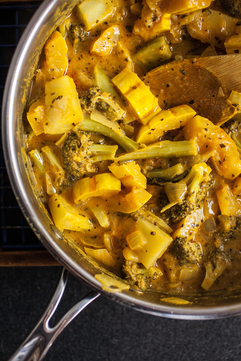 Produce On Parade - Delicata Squash & Broccoli Coconut Curry - A sweet and zesty coconut curry bathes fresh broccoli and tender delicata squash. Serve over your favorite rice or noodles for a warm and comforting mid-winter meal.