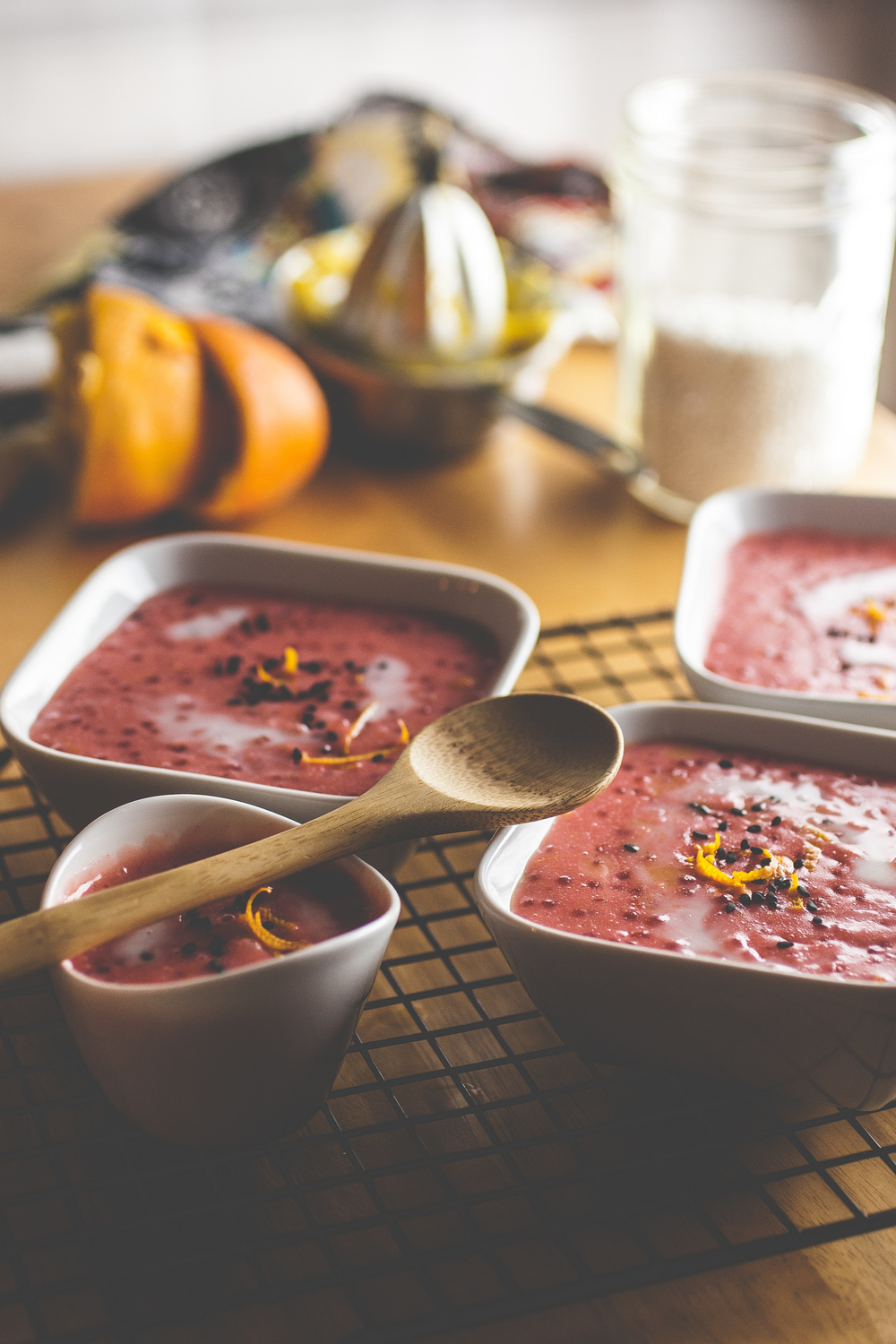 Produce On Parade - Cinnamon Blood Orange Tapioca Pudding - This is a uniquely pink Valentine's Day dessert. A nod to retro desserts.  A delicious orange tapioca pudding. Call this whatever you want, but it's an unexpected twist on a usually modest dessert that's sure to be a hit.