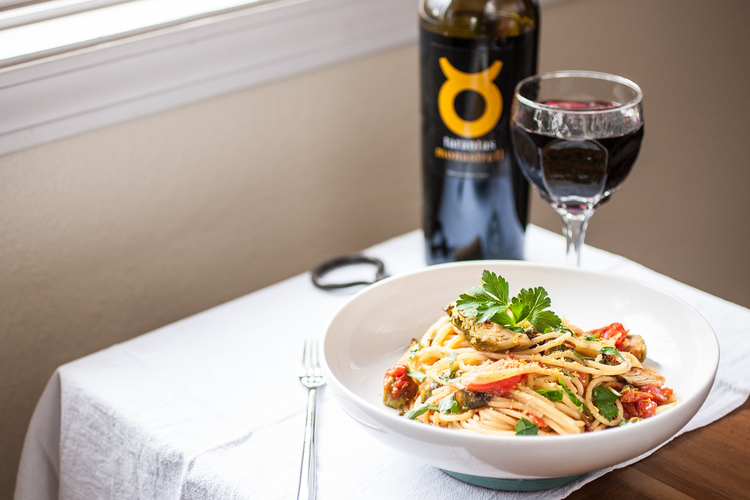 Produce On Parade - Roasted Brussels Sprouts & Bursted Cherry Tomato Spaghetti - This is an easy, haROASTED BRUSSELS SPROUTS & BURSTED CHERRY TOMATO SPAGHETT with Tarantas Monastrell