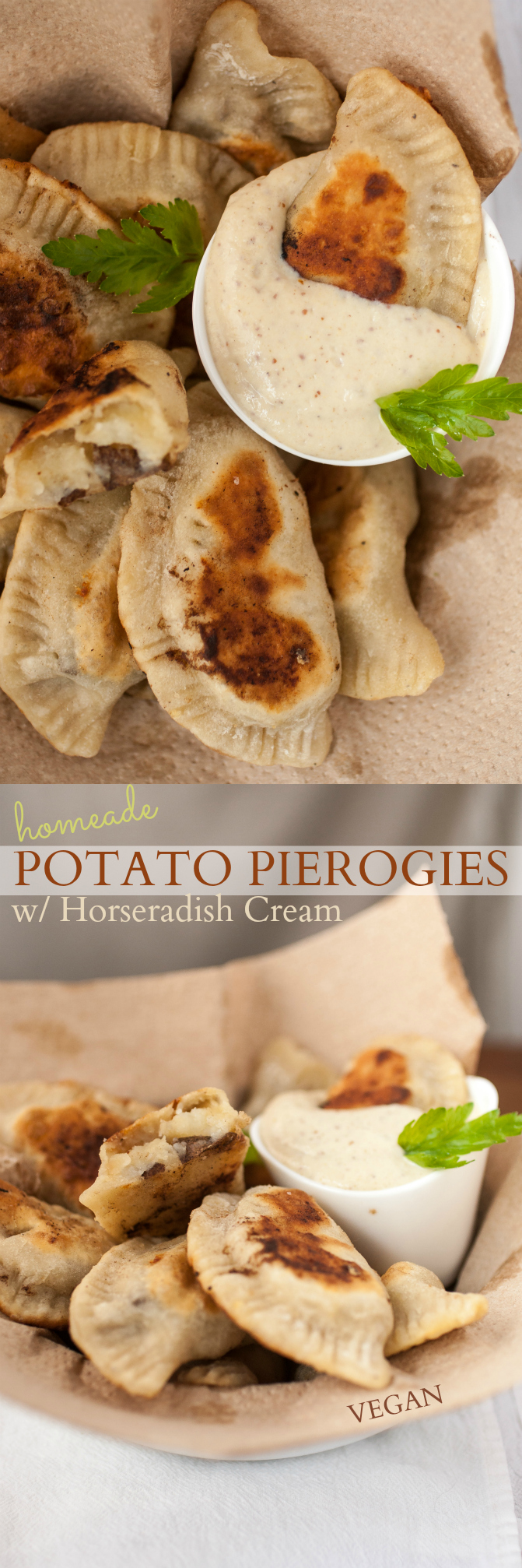 Produce On Parade - Street Vegan Cookbook Review + Homemade Potato Pierogies w/ Horseradish Cream - My new favorite cookbook! These creamy, potato filled pierogies with a delicious homemade dough and horseradish dipping cream are browned to perfection and sure to wow anybody!