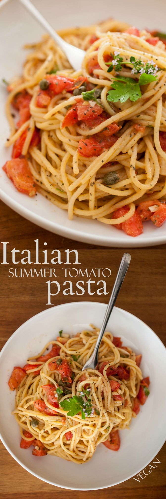 Produce On Parade - Italian Summer Tomato Pasta - This is a quick and easy pasta that's a great way to utilize those garden-fresh tomatoes from the summer harvest! The noodles are tossed in a homemade Italian dressing with briny capers and fresh herbs. Dinner is on the table in the time it takes to boil water and cook the noodles!