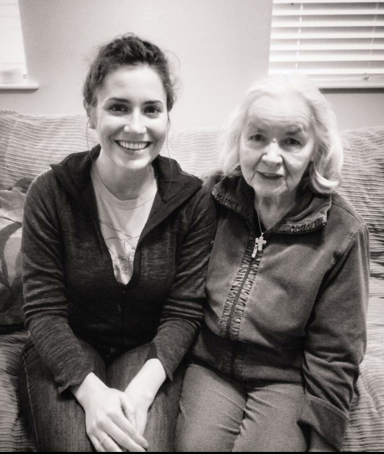 Grandma D and I visiting after a dinner a couple years ago.