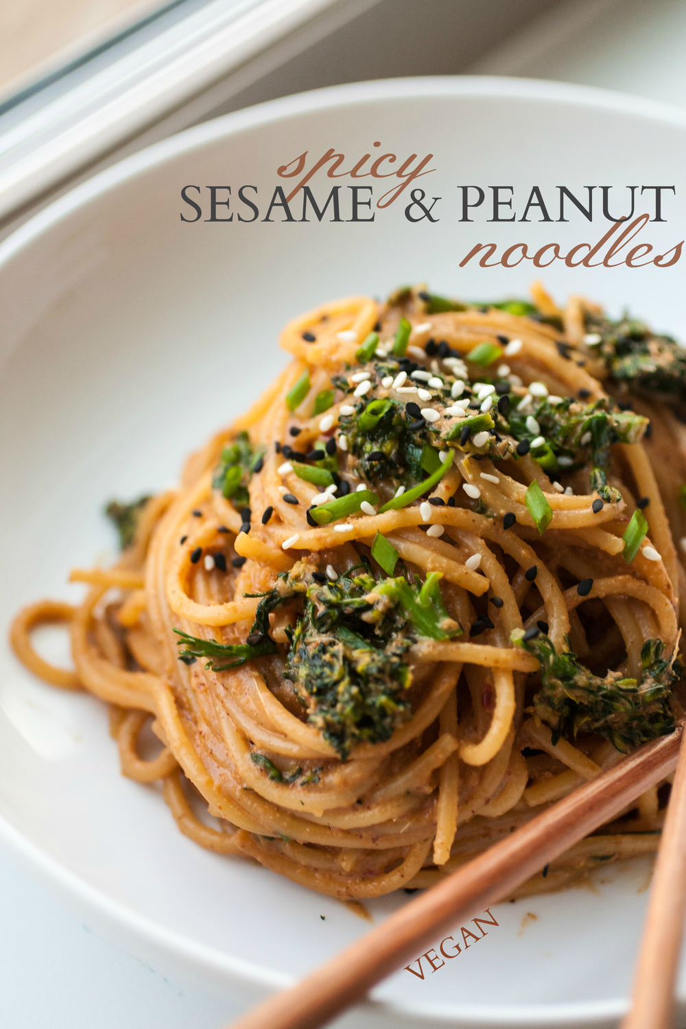 Spicy Sesame & Peanut Noodles (Produce On Parade) This is a scrumptious and speedy dish that only takes as long as the noodles to cook! A spicy and sweet creamy peanut butter and fragrant sesame blender sauce is tossed with chewy spaghetti noodles and fresh, parboiled broccoli rabe for a comforting meal. I hope this will be a new staple in your home, as it is in ours!